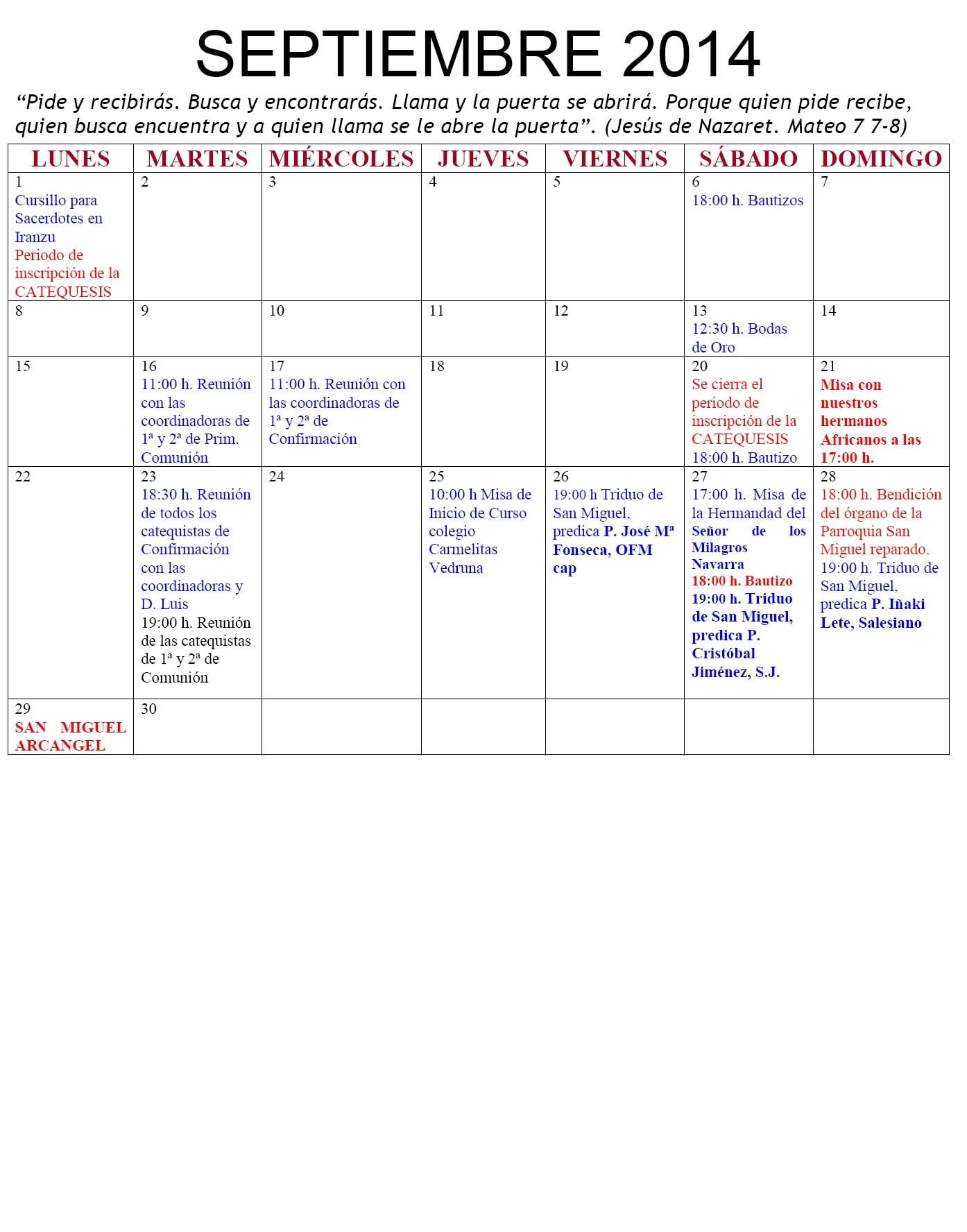 Agenda Septiembre 2014