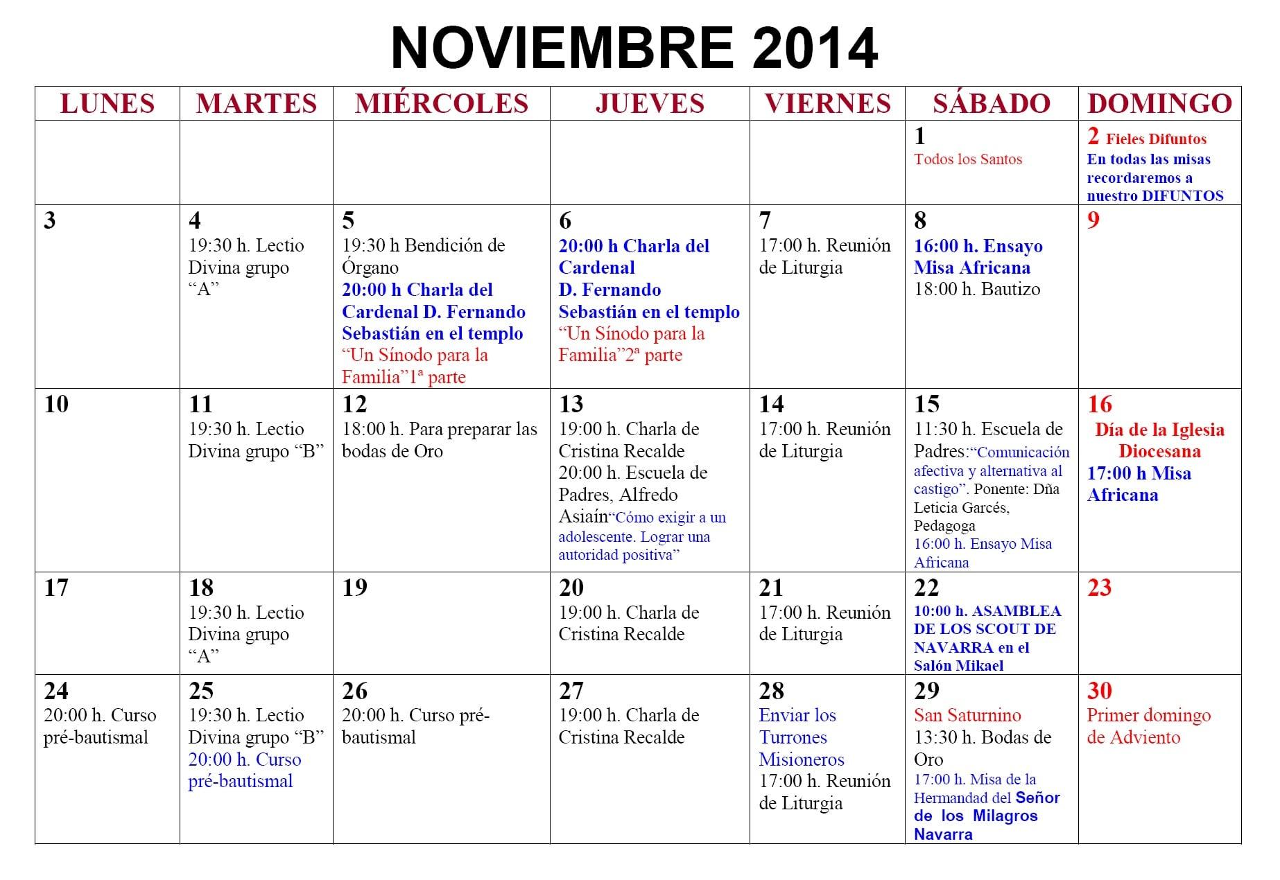 Agenda Noviembre 2014