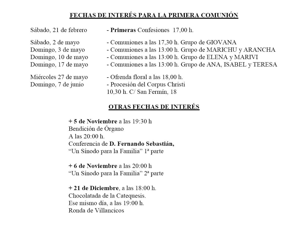 FECHAS DE INTERES PRIMERA COMUNIÓN