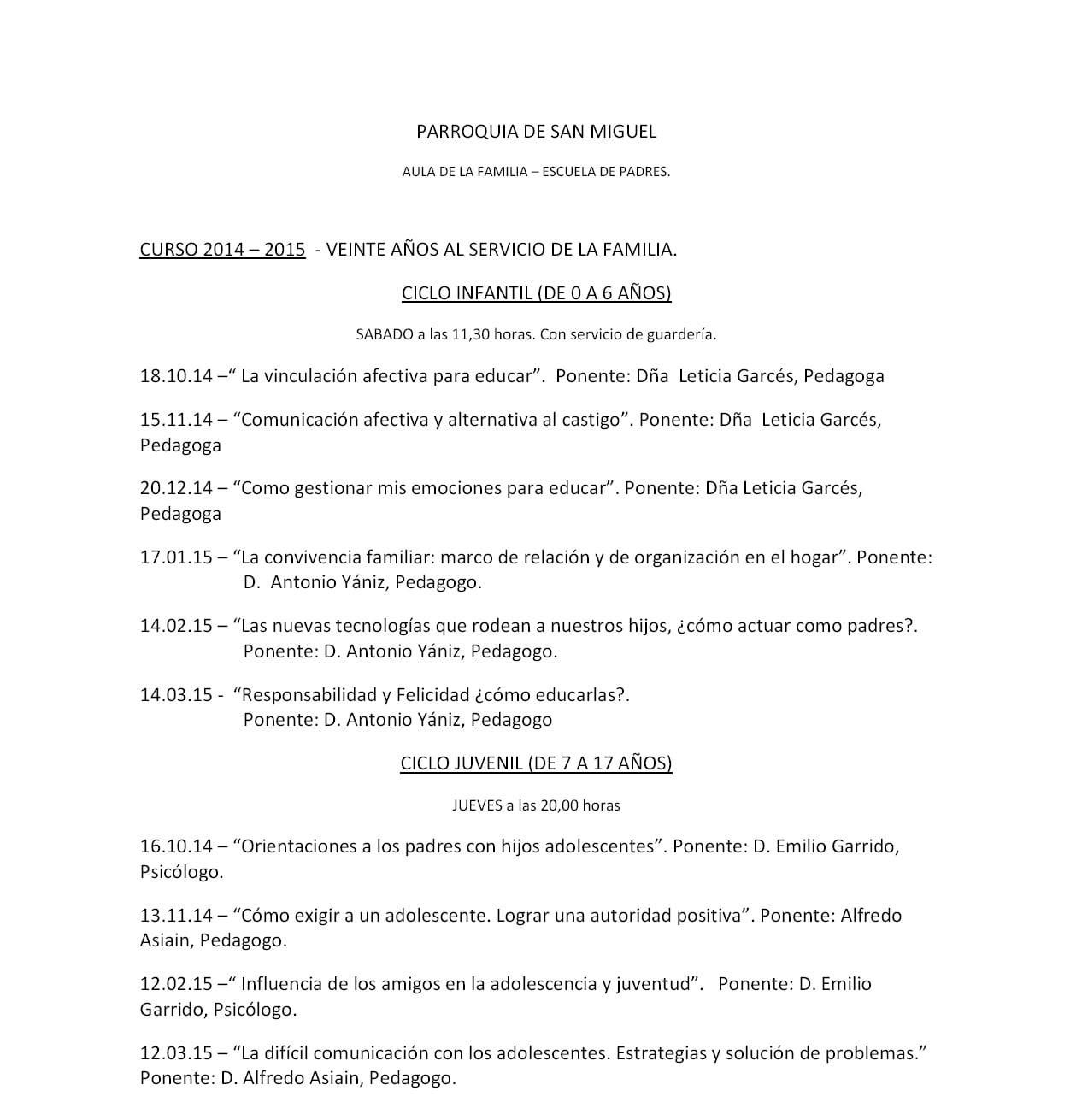 Agenda escuela de padres 2014-2015